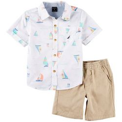 Nautica Toddler Boys Boat Print Button Down Shorts Set
