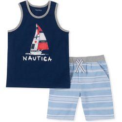 Nautica Toddler Boys Sailboat Stripe Tank Shorts Set