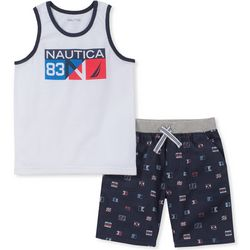 Nautica Toddler Boys Flag Print Tank Shorts Set