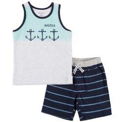 Nautica Toddler Boys Anchor Stripe Tank Shorts Set