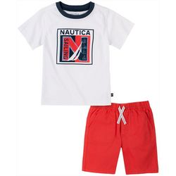 Nautica Toddler Boys Logo Tee & Solid Short Set