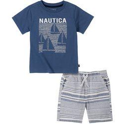 Nautica Toddler Boys Sailboat Tee & Stripe Short Set