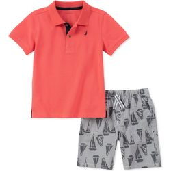 Nautica Toddler Boys Sailboat Polo Shorts Set