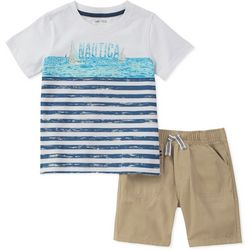 Nautica Toddler Boys Stripe Sailboat Shorts Set