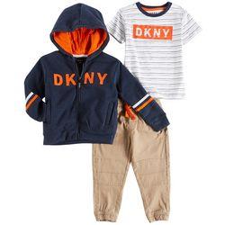 DKNY Toddler Boys 3-pc. Logo Sweatshirt Jogger Pants Set