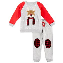 Little Rebels Toddler Boys Plaid Reindeer Fleece Pants Set
