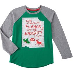 Seven Oaks Big Boys Naughty List Long Sleeve T-Shirt