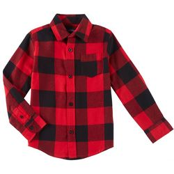 French Toast Big Boys Checkered Button Down Flannel Top