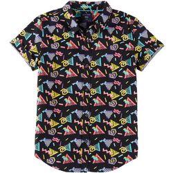 Cactus Boys Big Boys Shape Print Button Down Polo Shirt