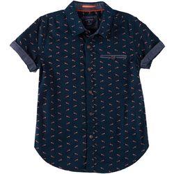Cactus Boys Big Boys Fox Print Button Down Polo Shirt