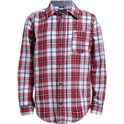 Nautica Big Boys Scott Red Plaid Button Down Shirt