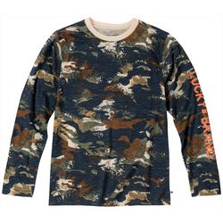 Lucky Brand Big Boys Distressed Camo Long Sleeve T-Shirt