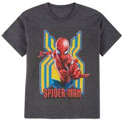 Spider-Man Big Boys Heathered Bust Web T-shirt