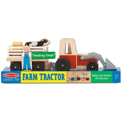 Melissa & Doug Wooden Farm Tractor Play Set