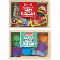 Melissa & Doug Shapes & Farms Wooden Magnets Bundle