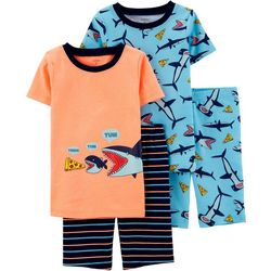 Carters Little Boys 4-pc. Pizza Shark Pajama Shorts Set