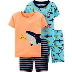 Carters Toddler Boys 4-pc. Pizza Shark Pajama Shorts Set