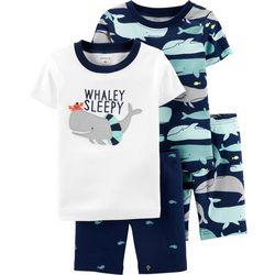 Carters Toddler Boys 4-pc. Whaley Sleepy Pajama Shorts Set