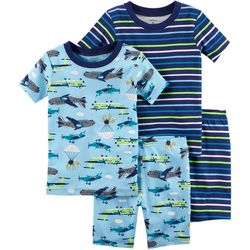 Carters Toddler Boys 4-pc. Stripe Airplane Pajama Shorts Set