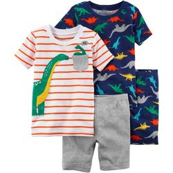 Carters Toddler Boys 4-pc. Stripe Dinosaur Pajama Shorts Set