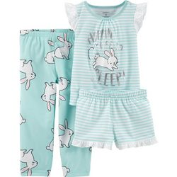 Carters Toddler Girls 3-pc. Hoppin' To Sleep Pajama Set