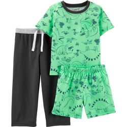 Carters Toddler Boys 3-pc. Dinosaur Short Sleeve Pajama Set
