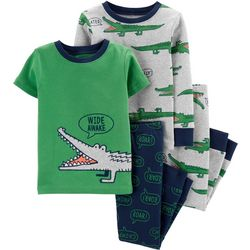 Carters Toddler Boys 4-pc. Wide Awake Gator Pajama