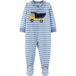 Carters Toddler Boys Construction Striped Footie Pajamas