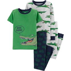 Carters Little Boys 4-pc. Wide Awake Gator Pajama