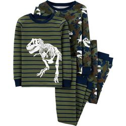 Carters Little Boys 4-pc. Striped Camo T-Rex Pajama Set