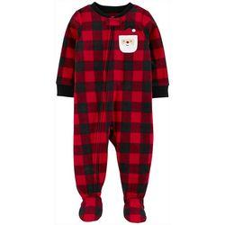 Carters Toddler Boys Plaid Santa Snug Fit Footie Pajamas
