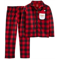 Carters Little Boys Plaid Santa Button Down Pajama Set