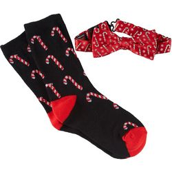Holiday Traditions Boys Candy Cane Socks & Bow Tie Set