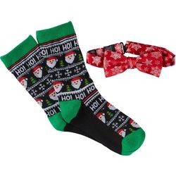 Holiday Traditions Boys Santa Socks & Bow Tie Set
