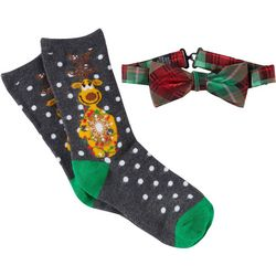 Holiday Traditions Boys Reindeer Socks & Bow Tie Set