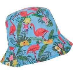 Floppy Tops Girls Flamingo Print Reversible Sun Or Rain Hat