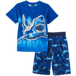 Jelli Fish Inc. Big Boys Shark Print Short Sleeve Pajama Set