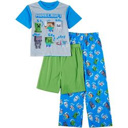 Minecraft Little Boys 3-pc. Short Sleeve Rattle Pajama Set