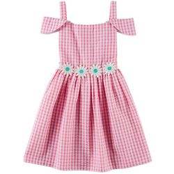 Emily West Little Girls Gingham Daisy Embellished Dress