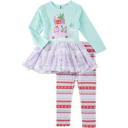 Youngland Little Girls Christmas Tutu Leggings Set
