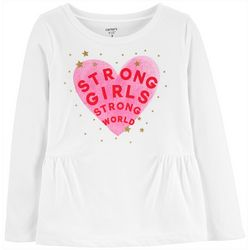 Carters Little Girls Strong Girls Strong World Peplum Tee
