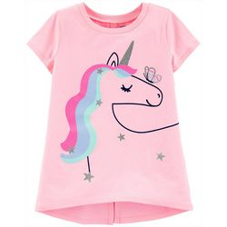Carters Big Girls Short Sleeve Rainbow Unicorn Tee