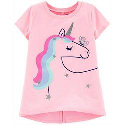 Carters Big Girls Short Sleeve Rainbow Unicorn Tee