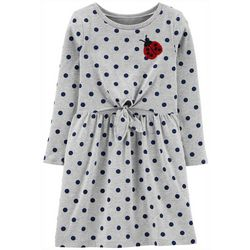 Carters Big Girls Sequin Ladybug Long Sleeve Dress