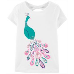 Carters Little Girls Peacock Bow Back Tee