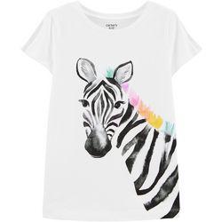 Carters Little Girls Zebra Split Shoulder Tee