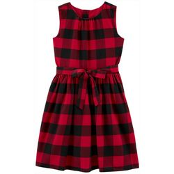 Carters Little Girls Checkered Tie Front Sleeveless Dress