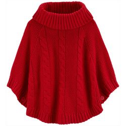 Carters Little Girls Solid Cable Knit Turtleneck Poncho Top