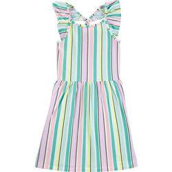 Carters Little Girls Striped Flutter Dress