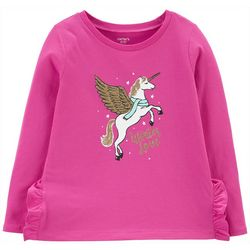 Carters Little Girls Winter Love Unicorn Long Sleeve T-Shirt